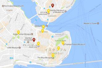 トルコ旅行記:イスタンブール観光マップ!(ブルーモスク、アヤソフィア、トプカプ宮殿、水道橋、サバサンド…)